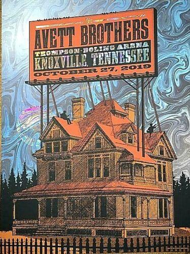 Avett Brothers Knoxville TN 2019 RAINBOW SWIRL FOIL Screen Print Poster AP #/30