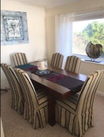 Wooden dining table dark brown with 6 luxury dining chairs with changeable covers