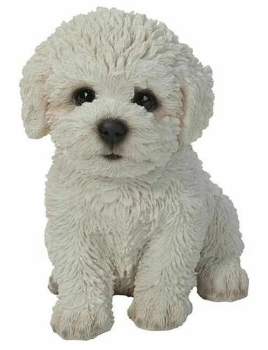 "5.9"" PETBICHON FRISE PUPPY FIGURINE STATUE LIFELIKE ANIMAL HOME AND GARDEN DECOR"