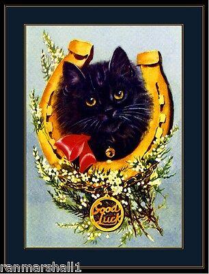 English Picture Print Good Luck Black Kitten Cat Art