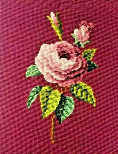 Completed Vintage Burgundy Needlepoint Crewel Rose Floral CottageCore