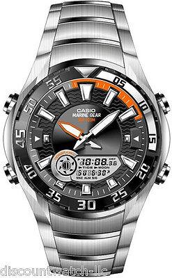 - Casio AMW710D-1A OUTGEAR Stainless Steel Marine Gear Watch Moon Data Tide Graph