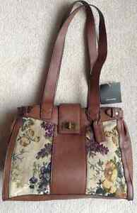 Women's brown floral and navy blue purses - new with tags