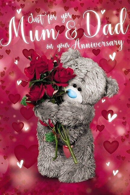 ME TO YOU TO A WONDERFUL MUM /& DAD 3D HOLOGRAM ANNIVERSARY CARD TATTY TEDDY BEAR