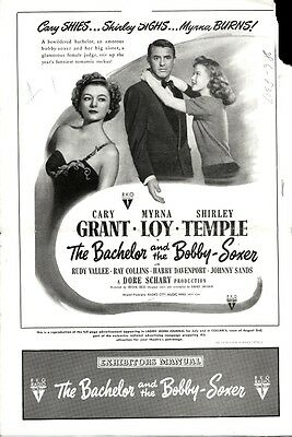 THE BACHELOR AND THE BOBBY SOXER pressbook, Shirley Temple Cary Grant, Myrna Loy