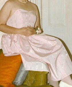 Beautiful Pink Moire Taffeta Strapless Dress