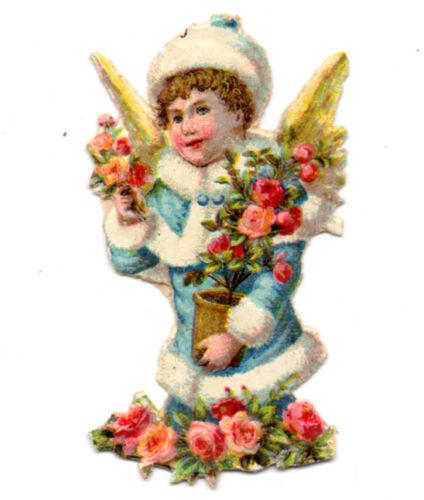 Antique Vintage XMAS ANGEL, FUR, ROSES - Christmas die cut paper scrap 1900s