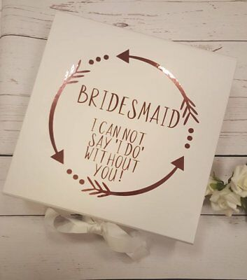 - Bridesmaid white Large Gift Boxes with fixed grosgrain ribbon / Bridesmaid boxes