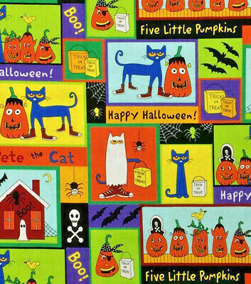 Pete the Cat Cotton Fabric Halloween Fabric James Dean By the Yard  Bfab  - The Halloween Cat