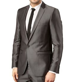 Thomas Nash Light Grey Tonic Suit Jacket 36R Mens Formal