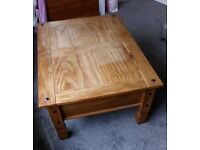 Wooden coffee table with side draw