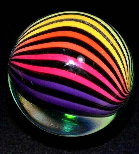 """FRITZ LAUENSTEIN GLASS MARBLE/1.140""""-3/4 RAINBOW WEIRDO-1/4 IS CLEAR VIEW-CENTER"""