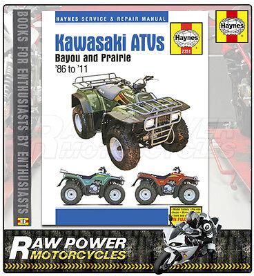 Kawasaki Bayou 220/250/300 & Prairie 300 ATVs (86 - 11) Haynes Manual (2351)