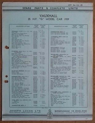 Vauxhall 25hp G model 1939  Lucas Parts List 403