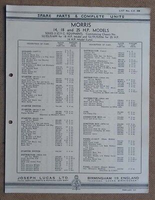 Morris 14, 18 & 25hp models 1937 Lucas Parts List 308