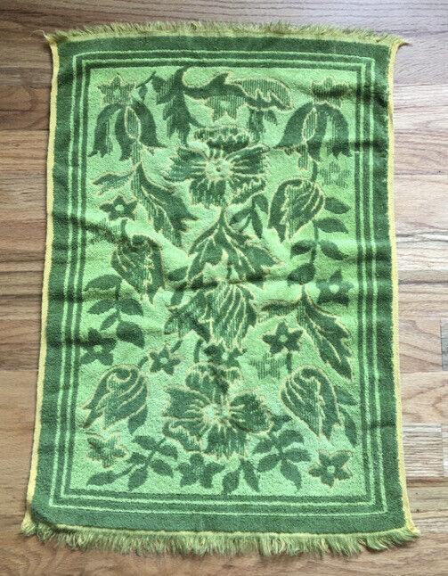 VTG Bathroom Hand Towel Fringe Green Floral By Sears Retro Bath Decor MCM