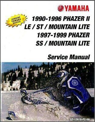 1990-1999 Yamaha PZ480 Phazer II LE ST SS / Mountain Lite Service Manual on a CD