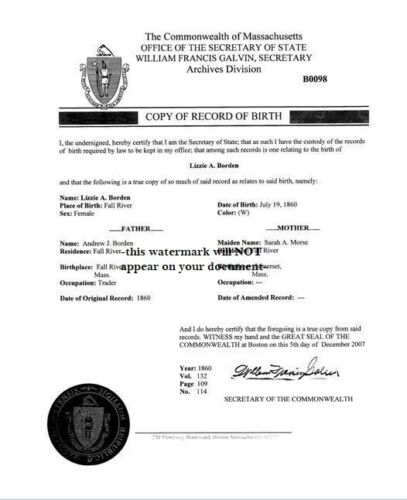 Lizzie Borden BIRTH RECORD Historic Research Document, July 1860 Fall River,Mass