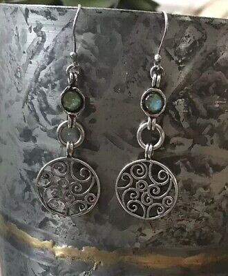 "Vintage Sterling Silver Scroll Disc Earrings ?Opal Gemstone Hook 2 1/4"" Long"