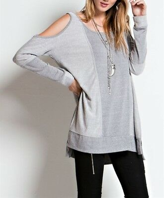 Slit Sleeve Top (EASEL French Terry Long Sleeve Side Slit Cold Shoulder Tunic Top)