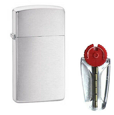 Slim Brushed Chrome Zippo Lighter 1600 - FREE FLINTS & P&P
