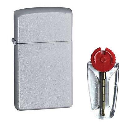 Slim Satin Chrome Zippo Lighter 1605 - FREE FLINTS & P&P