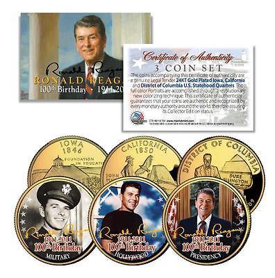 RONALD REAGAN *100th Birthday* 24K Gold U.S Legal Tender 3-Coin Life & Times Set