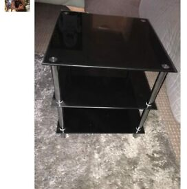 Black glass side table for sale