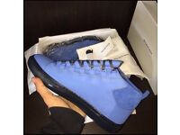 Balenciaga Arena Paris Suede Blue Leather Non Creased Leather High Top Men's Designer Sneakers