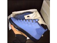 Blue Balenciaga Arena Suede High Top Leather Men's Designer Sneakers