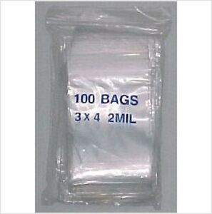 3 x 4 Clear poly ziplock zip lock bags, Baggies 1,000