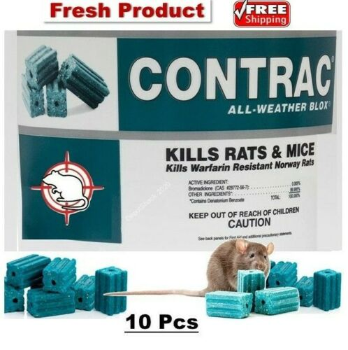 10 Pcs CONTRAC BLOX Professional Mouse Bait Rat Mice ALL WEATHER Rodenticide