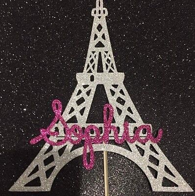 Personalised Eiffel Tower birthday cake topper silver age name Paris Las Vegas