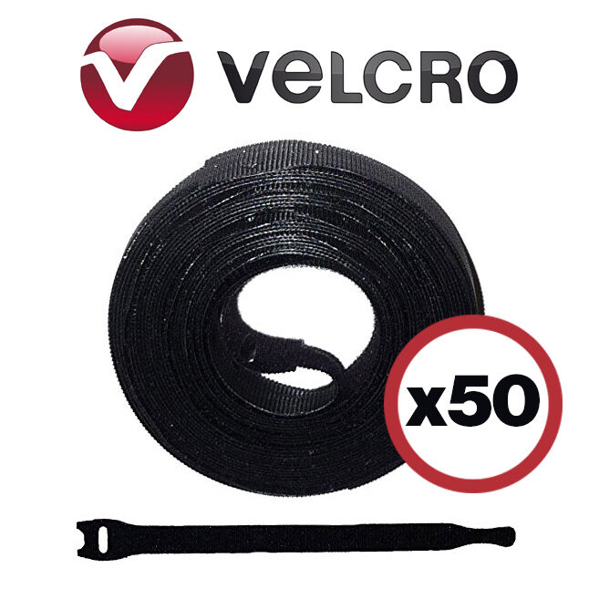 8 Inch Velcro Cable Wrap Ties Black Lot Of 50 Wire Management New US Free Ship