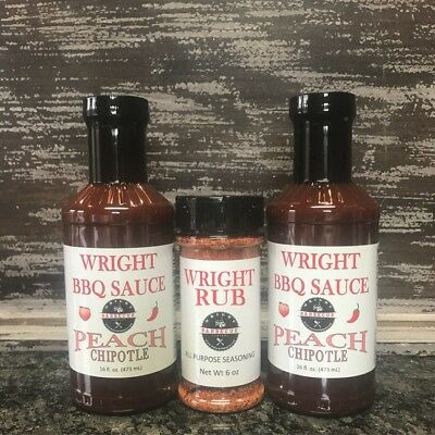 Peach Chipotle BBQ Sauce & Rub Grilling Marinade Smoking Meat Steak Wings Ribs