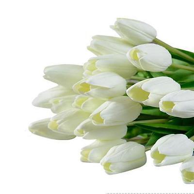 10PCS Tulip Artificial Flower Latex Real Touch Bridal Wedding Bouquet Home Decor