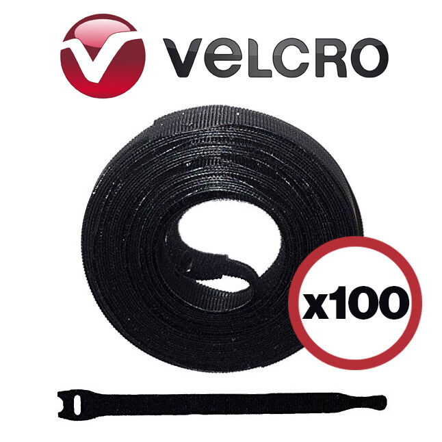 8 Inch Velcro Cable Wrap Ties Black Lot Of 100 Wire
