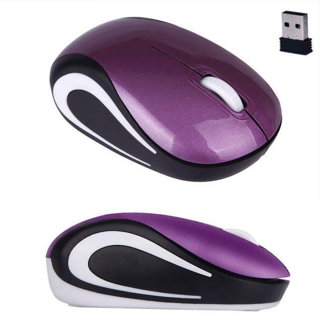 Wireless Cute Mini 2.4 GHz Optical Mouse Mice For PC Laptop Notebook Purple