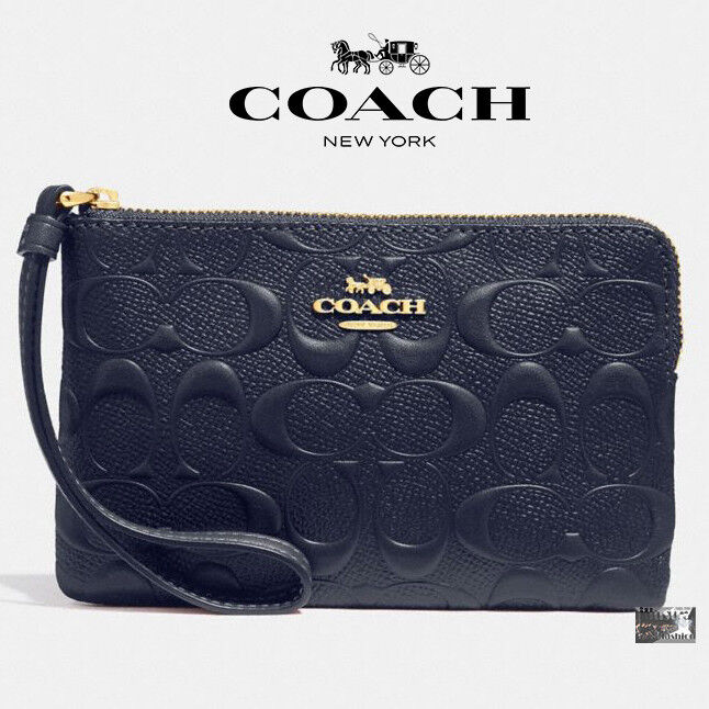 Coach F30049 Signature Embossed Corner Zip Wristlet Midnight Light Gold NWT $95
