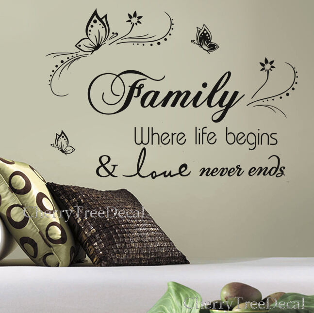 Home Decoration - Family Wall Quotes Decal Stickers Vines Home DIY Art Decor 16X FREE BUTTERFLIES