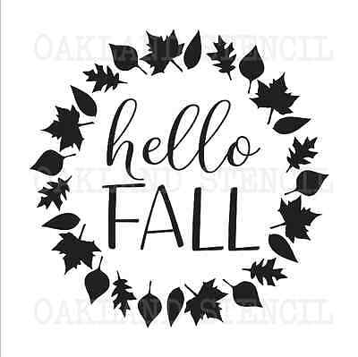 Thanksgiving Fall STENCIL**hello Fall w/leaves**for Signs Autumn Canvas Pillow