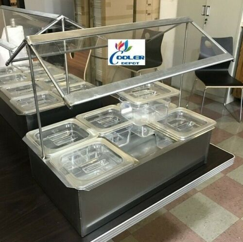 Cold Table Condiment Sauce Station Caddy 6 Container Sneeze Guard Countertop