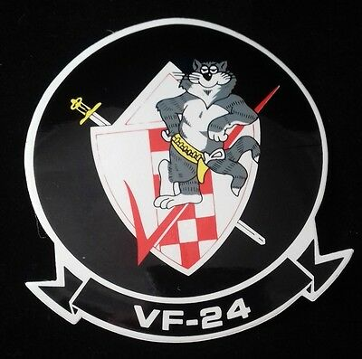 "US Navy VF-24 Tomcat US Navy Fighter Squadron 4"" Helmet Vinyl Decal Sticker"