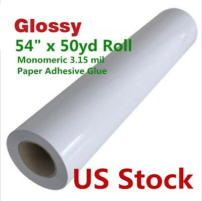 Us 54 X 50yd Glossy Cold Laminating Film-monomeric 3.15 Mil Paper Adhesive Glue