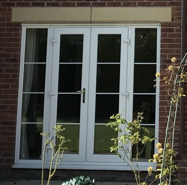 Used UPVC French Door With Side Panels And Georgian Bars
