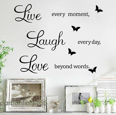 LIVE LAUGH LOVE Wall Quote Stickers Butterfly Vinyl Decal Home Art Decor Paper