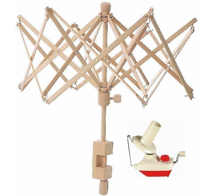 New! 2 pc Yarn Ball Winder and Wooden Umbrella Yarn Swift Combo! 6 ft EXPEDIATE