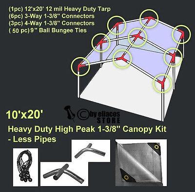 10'x20' H. Duty 1-3/8'' High Peak Carport Canopy Kit Silver