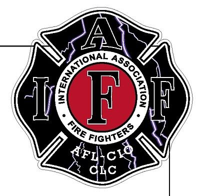 "4"" IAFF Decal Black Lightning Exterior Mount Please Read Auction"