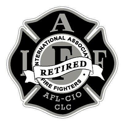 """4"""" IAFF Decal  Black and Silver Retired Exterior Mount Please Read Auction"""